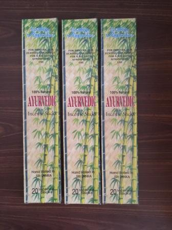 Incense Sticks - Ayurvedic Scent Set of 3 Packs each 20 Sticks