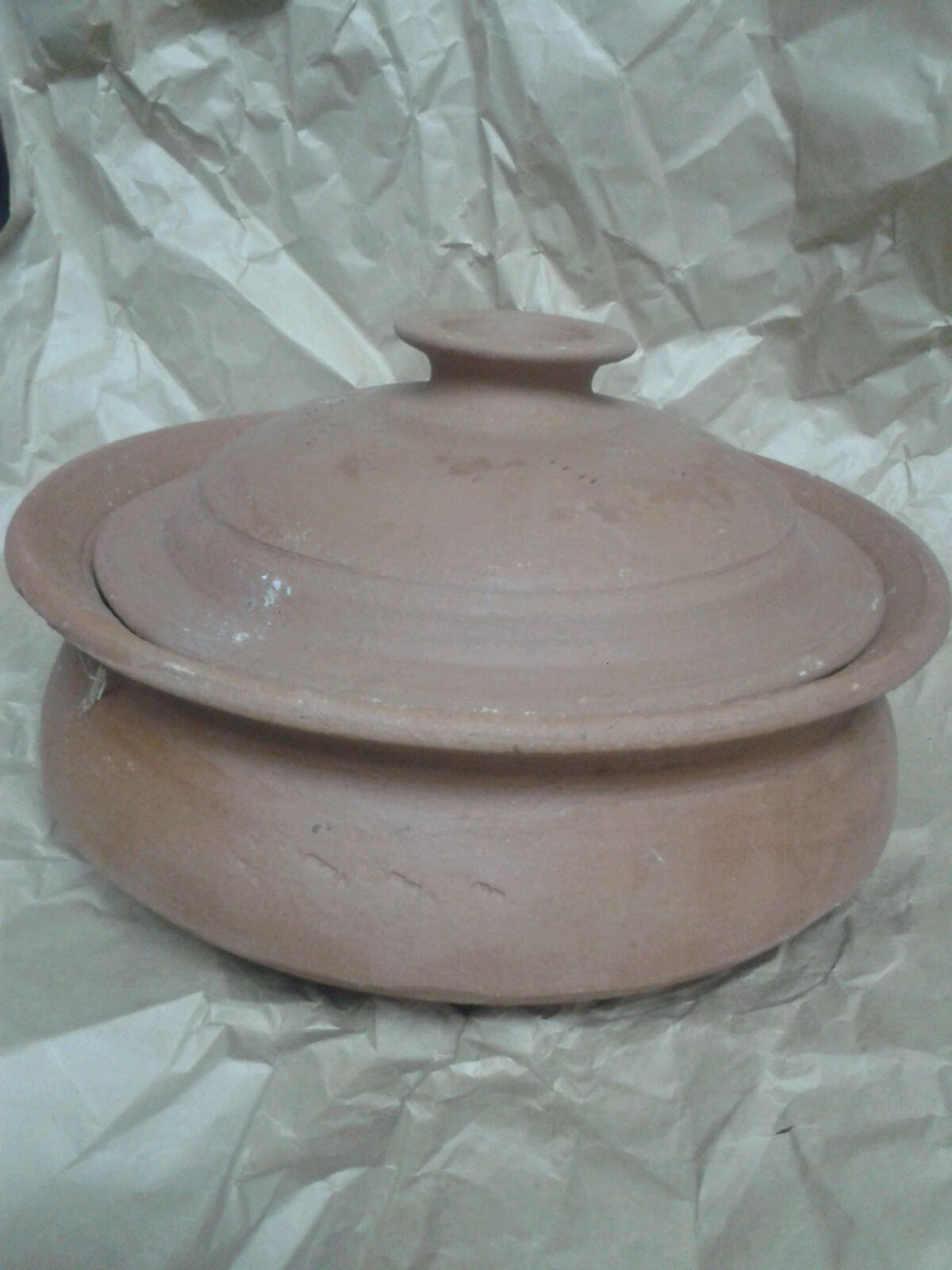 "clay cooking chatty - Gas stove friendly 09"" Diameter"
